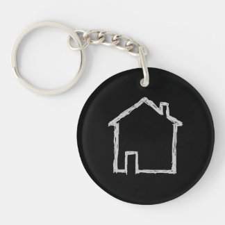 House Sketch. Gray and Black. Double-Sided Round Acrylic Key Ring