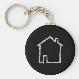 House Sketch. Gray and Black. Key Ring