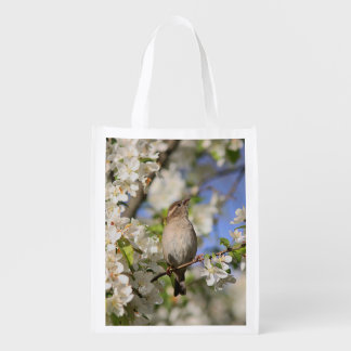 House sparrow and spring blossoms reusable grocery bag