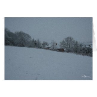 """House through snow covered trees"" Greeting Card"