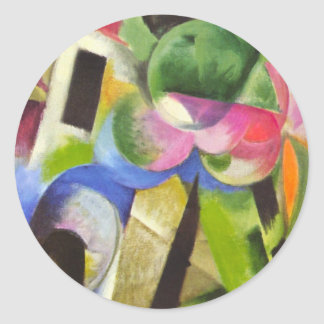 House w Trees by Franz Marc, Vintage Abstract Art Round Sticker