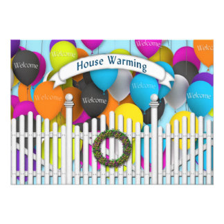 House Warming Invitation - Fence Balloons Personalized Invitation