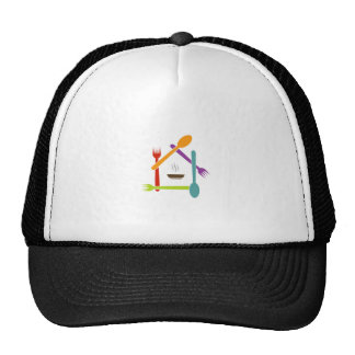 House with fpoons and forks and a soup bowl cap