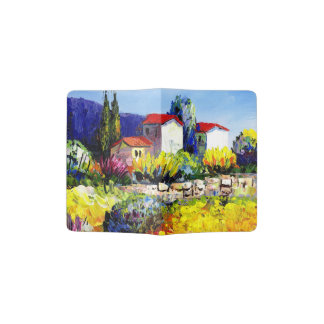 house with garden colorful oil painting travel fun passport holder