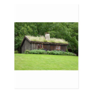 House with grass roof postcard