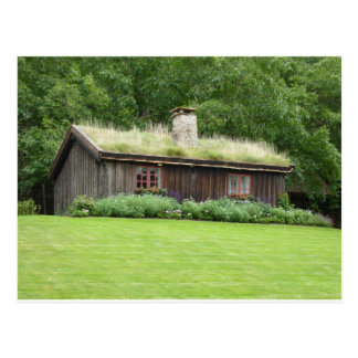 House with grass roof postcards