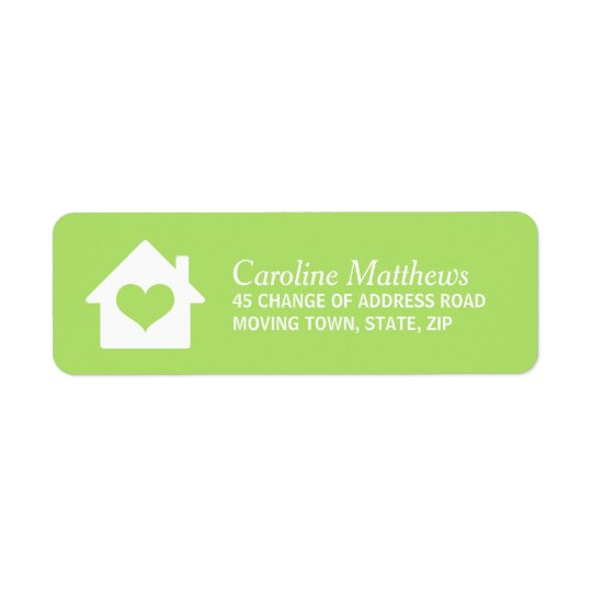 House with heart on lime green background return address label