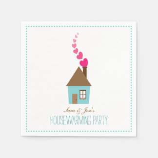 House with Hearts Housewarming Party Personalized Paper Napkin