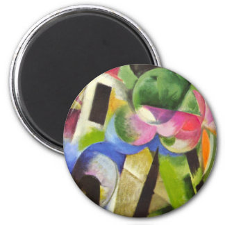 House with Trees by Franz Marc, Vintage Fine Art 6 Cm Round Magnet
