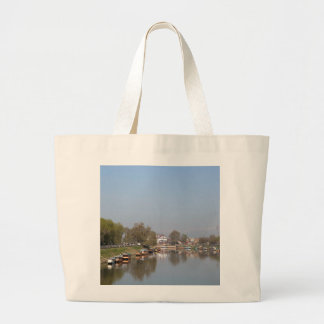 Houseboats on the shore of Dal Lake Canvas Bags