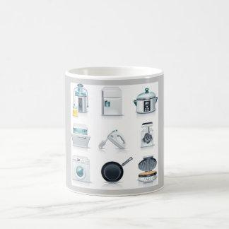 Household appliances icons (5) basic white mug