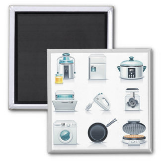 Household appliances icons (5) square magnet