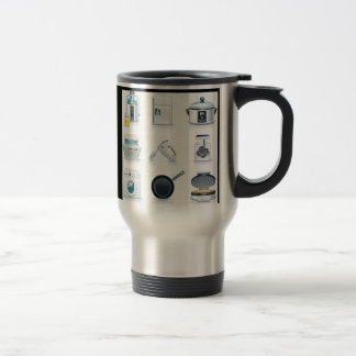 Household appliances icons (5) stainless steel travel mug