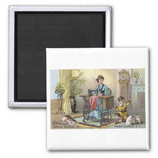 Household Sewing Machine Boy with Cats Square Magnet