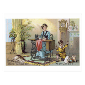 Household Sewing Machine Boy with Cats Post Card