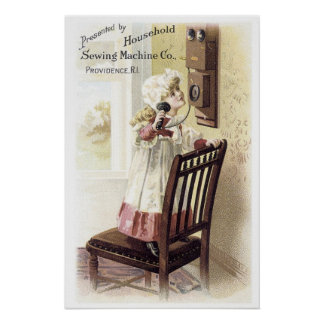 Household Sewing Machine Girl on Phone Poster
