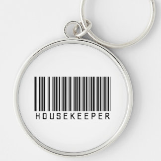 Housekeeper Bar Code Silver-Colored Round Key Ring
