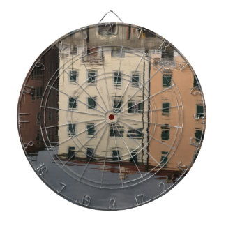 Houses are reflected in the tranquil water dartboard