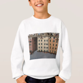 Houses are reflected in the tranquil water sweatshirt