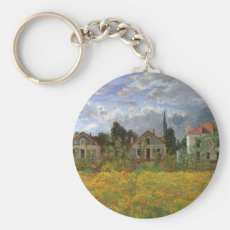 Houses at Argenteuil by Claude Monet, Vintage Art Basic Round Button Key Ring
