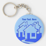 Houses Button Keychain