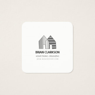 Houses IN A ROW Professional Minimal Black White Square Business Card