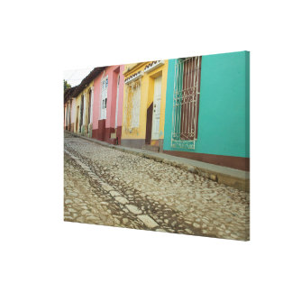 Houses Line The Street, Cuba Canvas Print