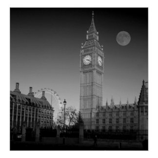 Houses of Parliament  bw Poster