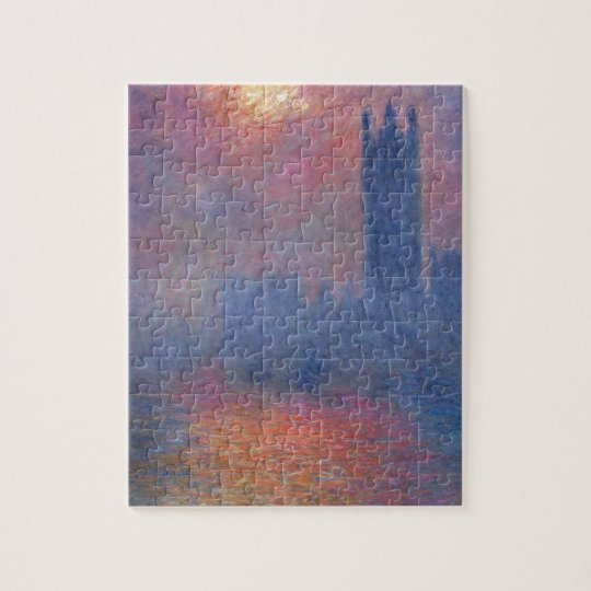 Houses of Parliament, London, Sun Breaking Through Jigsaw Puzzle
