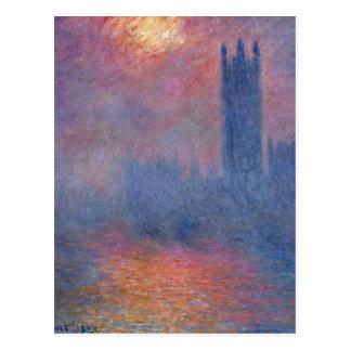 Houses of Parliament, London, Sun Breaking Through Postcard