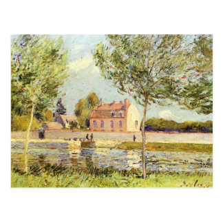Houses on the banks of the Loing postcard