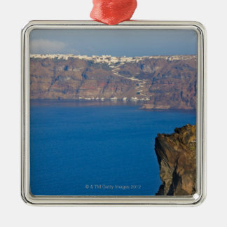 Houses perched on the cliff of Aegean Sea Metal Ornament