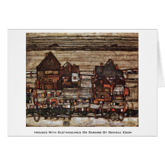 Houses With Clotheslines Or Suburb By Schiele Egon Card