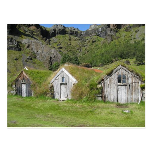 Houses with grass roof post card