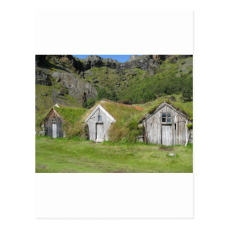 Houses with grass roof postcards