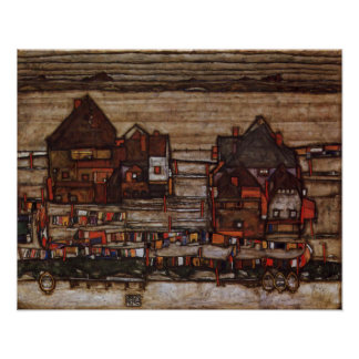 Houses with Laundry by Egon Schiele Poster