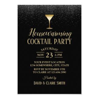 Housewarming Cocktail Party Elegant Black Glitter Card