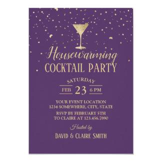 Housewarming Cocktail Party Elegant Purple & Gold Card