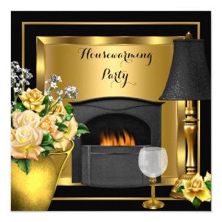 Housewarming Gold Roses Decor Wine Glass Black Card