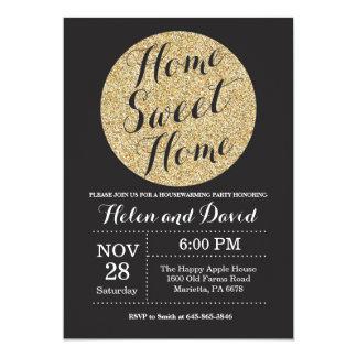 Housewarming Party Black Gold Glitter Invitation