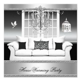 HouseWarming Party Chandelier Rich Silver White 13 Cm X 13 Cm Square Invitation Card