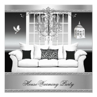 HouseWarming Party Chandelier Rich Silver White Card