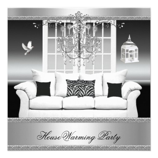 HouseWarming Party Chandelier Rich Silver White Personalized Invitations