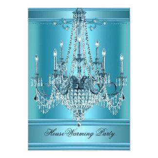 HouseWarming Party Chandelier Rich Teal Blue 13 Cm X 18 Cm Invitation Card