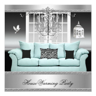 HouseWarming Party Chandelier Teal Silver White 13 Cm X 13 Cm Square Invitation Card