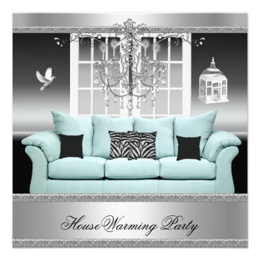 HouseWarming Party Chandelier Teal Silver White Invites