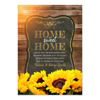 Housewarming Party Fall Sunflower Chalkboard Wood Card