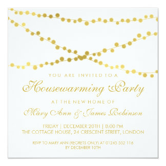 Housewarming Party Gold Glowing String Lights Card