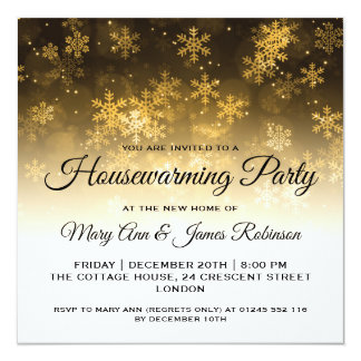Housewarming Party Gold Holiday Sparkle Card