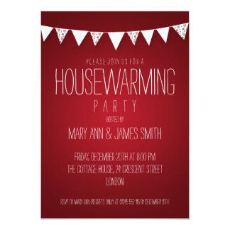 Housewarming Party Hearts Bunting Red 13 Cm X 18 Cm Invitation Card